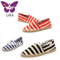 Wholesale Dropship Hand made Sneakers for Women Men Flat Zebra Stripes Casual Flax Shoes Espadrilles TS014