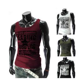 Wholesale undershirt men sports Man fitness muscle vest warm vest shirt tight vest Printed letters sports shirt