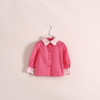 Wholesale Cute baby girls dots shirts lace collar and sleeve long sleeve princess girl shirt children tops kids boutique top wear clothing red navy