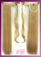 Wholesale 22 quot cm g straight Velcro hook amp loop ponytail clip in hair extensions hairpiece color Golden Blonde