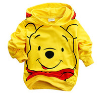 Boy bear hooded sweatshirt - Best selling Children Cotton Cartoon Yellow Bear children boy s Hoodies amp Sweatshirts