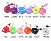 Flat Noodle Colorful USB Charger Cable Cell Phone Universa  USB Charger Data Cable 1M 3FT Flat Noodle Colorful Data Cables Cord Micro USB For Samsung Galaxy HTC Cell Phone Universal