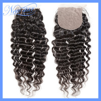 Brazilian Hair Dark Brown Curly cheap new star company free style natural color 100% Virgin hair deep wave Silk Based lace closure DHL Free shipping