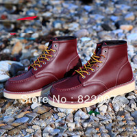 Wholesale Red Wing s Men Outdoor high top ankle work tooling Martin boots casual cow leather shoe oxfords Ruber outsole wearproof