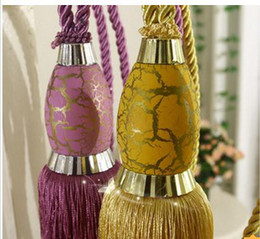 Wholesale Pieces Curtain Tieback Strap Ball Curtain Accessories Hanging Tassel Colors Purple Golden Brown
