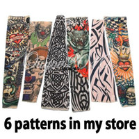 Wholesale 6pcs Nylon Stretchy Fake Temporary Tattoo Sleeves Fashion Art Arm Stockings dandys