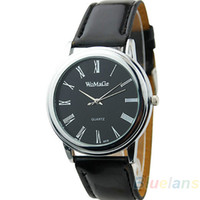 Wholesale 4 Colors NEW Luxury Fashion Classic Design Ladies Womens Men Women Leather Dial Quartz Wrist Watch Wristwatch