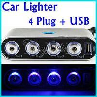 achat en gros de mini-prises de lumière-4 voitures Way allume-cigare Splitter Power Adapter Chargeur USB 12V 24V + LED Light Switch + Package Retail livraison gratuite , dandys