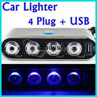 Wholesale 4 Way Car Cigarette Lighter Socket Splitter Power Adapter Charger V V USB LED Light Switch Retail Package dandys