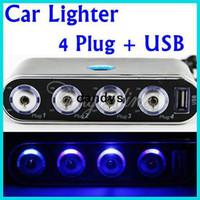 Wholesale 4 Way Car Cigarette Lighter Socket Splitter Power Adapter Charger V V USB LED Light Switch Retail Package dandys