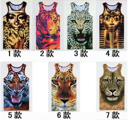 Wholesale New Men leopard Animal D Sleeveless t shirts tiger cat wolf d Vest Tanks Tops Tees