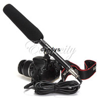 Wholesale quot Pro DSLR Camera Camcorder DV Shotgun interview conference Stereo Microphone Condenser Mic For Canon Sony dandys
