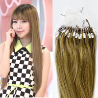 Wholesale Brazilian Remy Human Hair Extensions Easy Loop Micro Rings Tips Beads Tipped Straight Hair