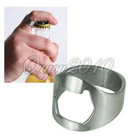Wholesale 20 Stainless Steel Metal Finger Ring Beer Wine Bottle Opener Bar Waiter Tool Silver dandys