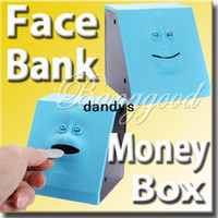 Wholesale Blue Swallowing Expression Changing Dynamic Eating Face Money Coin Bank Saving Saver Box Sensor Cute Piggy Kid Children Toy Gift dandys