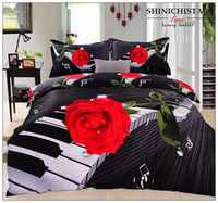 Wholesale 4pcs set cotton flower and musical roses printed duvet cover set