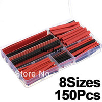 Wholesale 150pcs Sizes Black Red Assortment Polyolefin H type Heat Shrink Tubing Tube Sleeving Wrap Wire Cable Kit dandys