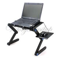 achat en gros de ordinateur portable support de table-360 Degree Portable Folding Laptop Black Metal Notebook Stand d'ordinateur Table Bureau Chambre Bureau Canapé Plateau Livraison gratuite, dandys