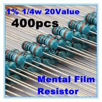 Metal film resistor Baratos-1% 1 / 4W <b>Metal Film Resistor</b> Surtido kit determinado de 20 tipos valor total 400pcs Nuevo, dandys