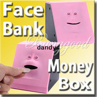 Plastic money piggy bank - Pink Swallowing Expression Changing Dynamic Eating Face Money Coin Bank Saving Saver Box Sensor Cute Piggy Kid Children Toy Gift dandys