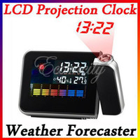 Mechanical Alarm Clocks Digital Mini Desktop Multi-function Digital LCD Screen Projection Clock Alarm Calendar Weather Forecast Station Humidity Free Shipping,dandys