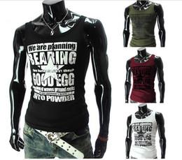 Wholesale New Korean undershirt men sports Man fitness muscle vest warm vest shirt tight vest Printed letters sports shirt