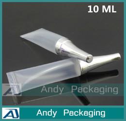 Tubo de la manguera de plástico transparente en Línea-Tubo de la crema de la sombra de ojo 10G, maquillaje plástico claro Sub-embotellado, pequeño envase cosmético vacío, botella de la manguera de la presión de la muestra, 100PCS / LOT