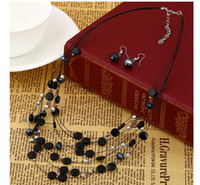 Chokers bead woven earrings - 2014 New Necklaces Earring Sets Crystal Beads Weave Necklace Six Colors Mixed