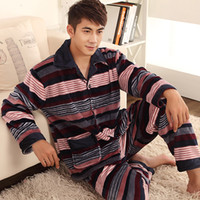 Regular Men Robe LZ Autumn and winter sleepwear pants pajama set horizontal stripe flannel thickening coral fleece male lounge plus size xxl