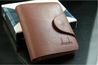 Wholesale Men cowhide short amp vertical design genuine leather wallet purse with middle HASP Black Dark brown light Brown