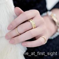 Cluster Rings Women's Wedding 3pcs set fashion emboss rose multi-layered ring o 18 gold alloy emboss rose o rings midi rings for women