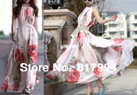 Casual Dresses Strapless A Line Free ShippingDR1733 Ladies Women's Summer Elegant BoHO Lotus Leaf Big Hem Chiffon Maxi Flowers Dress Beack Print Long Dresses