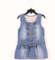 Wholesale Girls Bowknot Band Fashion Design European Style Dresses Children Leisure Pleated Vest Demin Clothes Blue Color I0280