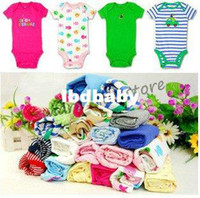 Boy Summer Baby Free shipping!! Baby Rompers Infants Cotton Wear 5pcs Lot Baby bodysuits Gift Box