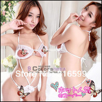 Woman Open fork and exposed breast Polyester Free Shipping Sexy Fancy Flower Halter-neck Milk Lace One Piece Women's Sexy Sleepwear Sexy Lingerie Babydoll Wholesale US1188
