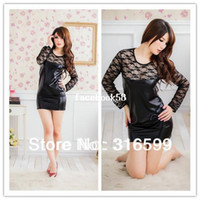 Wholesale lingerie Full Size Sexy Doll Black Leather Sexy Costume Stripper Clothes Lace Dress Pajamas Dropshipping US1388
