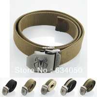 Belts stainless steel buckle - New HOT Fashion Spider Spiderman Stainless Steel Buckle Military Army Style Mens Womens Boys Unisex Sports Webbing Canvas Belt
