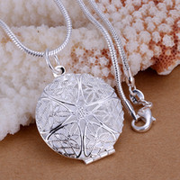 Wholesale Photo Lockets Circle pendants necklace for Key Ring chains sterling silver p167 For Holidays Gift