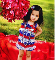 Wholesale in stock summer baby girls th Of July Lace satin Petti Romper kids Patriotic Rompers on sale