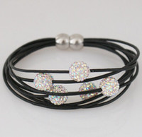 Wholesale Jewelry Bling Shamballa Jewelry Crystal Beads Leather Friendship Bracelet for Woman Gift Magnetic Clasp