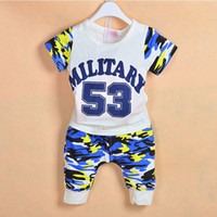 Boy Summer Short New baby boy's shortsleeve suit 100% cotton 2014 summer hotsell camouflage T-shirt+shorts 2 piece set leisure outfits baby clothes kids wear