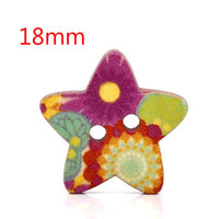 Quilt Accessories Buttons Flatback 100 Pcs Star Shape 2 Holes Wood Sewing Buttons 18x17mm W01429 Knopf Bouton(W01429 X 1)