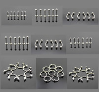 Wholesale Mixed Style Stainless Steel Body Piercing Jewelry L Silver Plated Safety Belly Rings Tongue Lip Nose Rings Studs BJ001