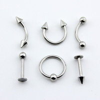 Nose Rings & Studs Stainless Steel Halloween 2014 New Punk 30X 6 Style Stainless Steel Body Piercing Jewelry 316L Silver Plated Safety Belly Rings Tongue Lip Nose Rings Studs BJ001