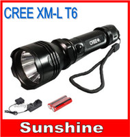 Wholesale CREE LED Flashlight Torch LED Ultrafire xm l T6 Lumen Zoomable FlashLights Lamp Battery Portable Charger Via SG Post