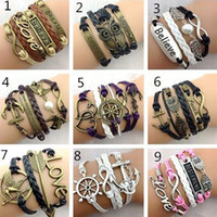 Wholesale 30pcs New Infinity Leather Bracelet Antique Cross Anchor Love Peach Heart Owl Bird Believe Pearl Knitting Bronze Charm Bracelets C2182