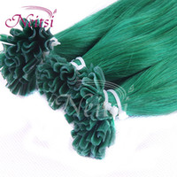 Wholesale Brazilian Pre Bonded Nail U Tip Hair quot s K Green Silky Straight Remy Human Human Hair Extensions Hair Weaves Ponytail Hair