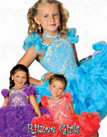 Wholesale Bling Sparkle A Line Halter Knee Length Girl s Pageant Dresses For Party Prom Crystal Beaded Discount Flower Girls Dresses For Cupcake