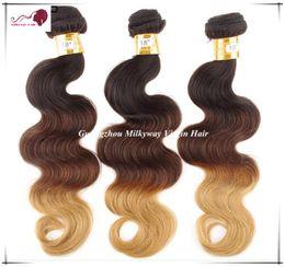 "Wholesale New Arrive Unprocessed Virgin Hair 14""- 28"" Color 1B 4# 27# Grade 5A 100% Virgin Brazilian Hair Ombre Hair Extension Body Wave"