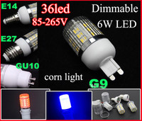 LED Corn Light E14 E27 G9 GU10 Base 85- 265V 6W 36* 5050 SMD ...